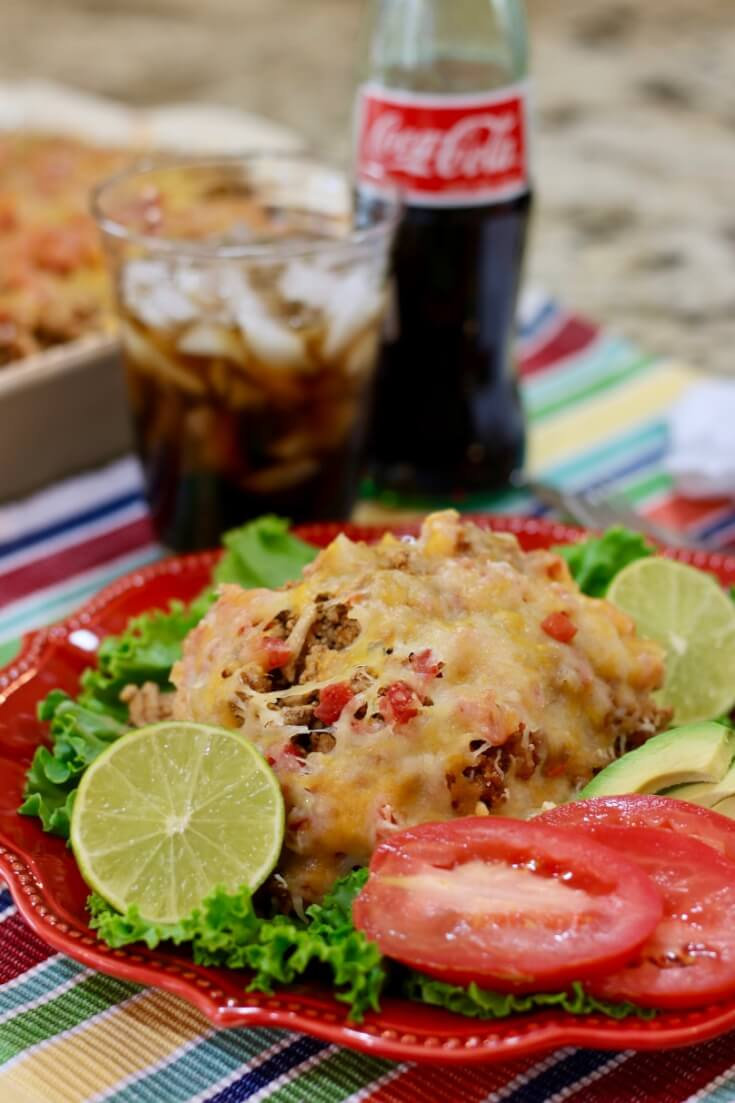 Great with Coca Cola de Mexico and Veggies - Easy Recipe for Mexican Casserole