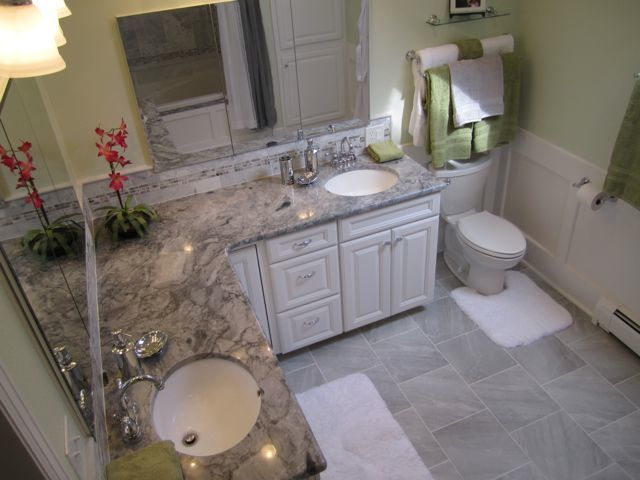 Master Bath Makeover and Bathroom Remodel with Granite Marble and Chrome from HappyandBlessedHome.com