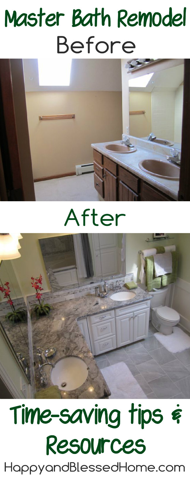 Master Bath Remodel with Marble Granite and Chrome with Tips and Resources from HappyandBlessedHome.com