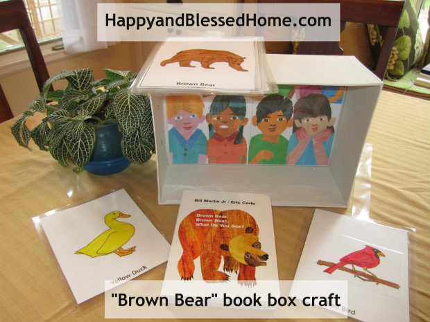 """children-books-""""Brown Bear"""" FREE printables and shoebox craft from https://www.happyandblessedhome.com"""