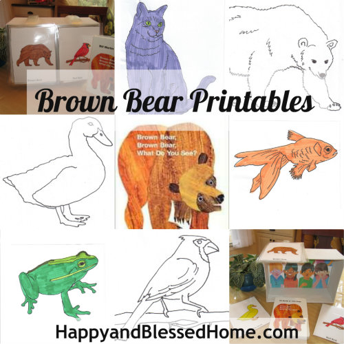 "Children's Book ""Brown Bear"" FREE printables and shoebox craft from https://www.happyandblessedhome.com"