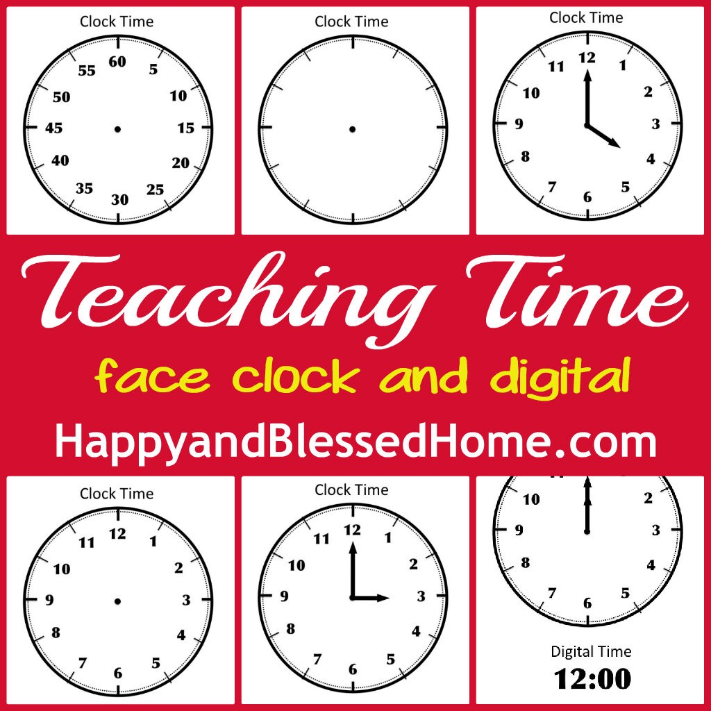 Worksheet Teaching Time Clock tell time preschool learning happy and blessed home free printable face clock to teach time