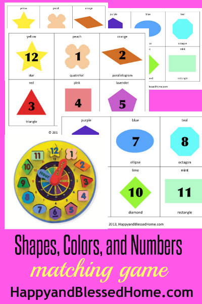 preschool activities shapes colors and numbers matching game