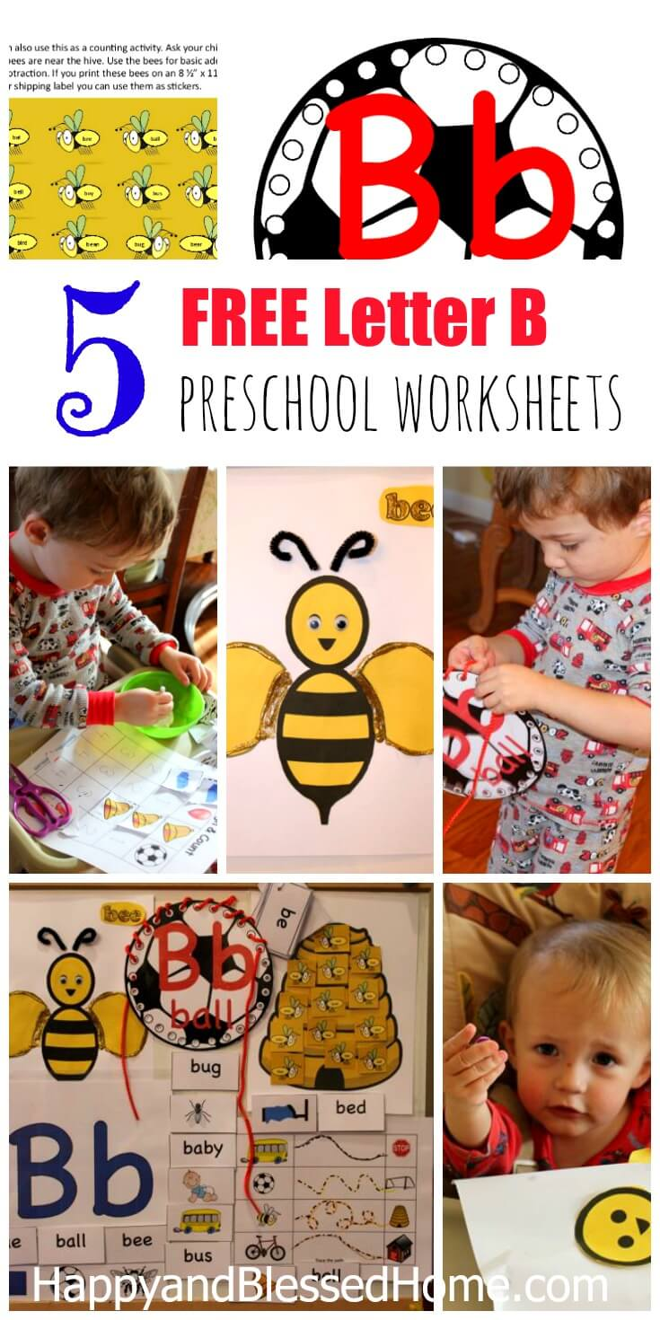5 FREE Letter B Preschool Worksheets from HappyandBlessedHome.com