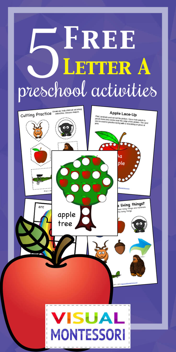 My preschooler loves these! Perfect learning fun for preK. 5 Free Preschool Alphabet Letter A Activities comes with coloring, matching, cutting, and fine motor skill exercises. You can easily teach children and toddlers with these easy crafts, cards, and words that start with