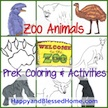FREE preK Animal Coloring & Activities at HappyandBlessedHome.com