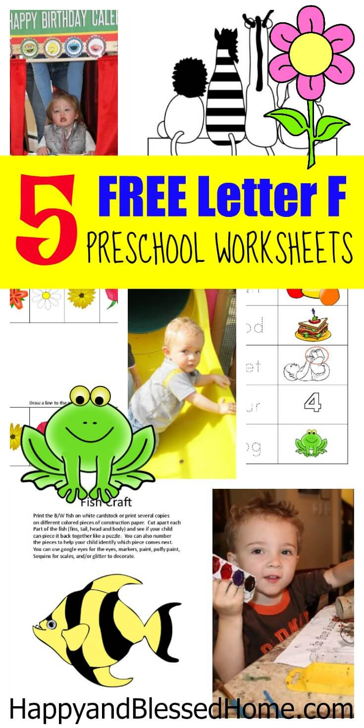 5 FREE Letter F Preschool Worksheets from HappyandBlessedHome.com
