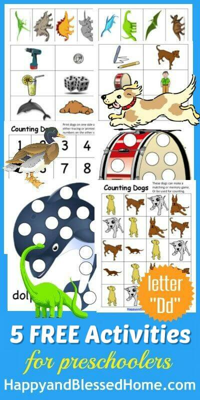 5 FREE Letter D Preschool Worksheets from HappyandBlessedHome.com