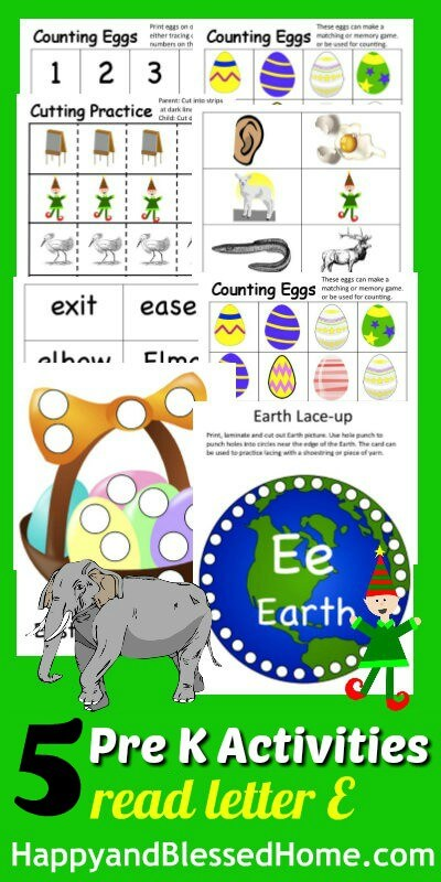 5 FREE Letter E Preschool Worksheets from HappyandBlessedHome.com