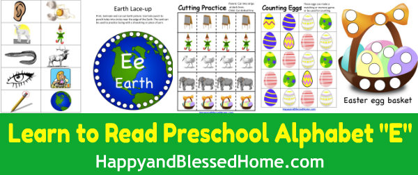 Learn to Read Preschool Alphabet Letter E