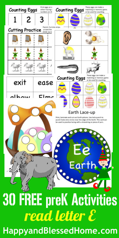 Learn to Read Preschool Alphabet Letter E - Happy and Blessed Home