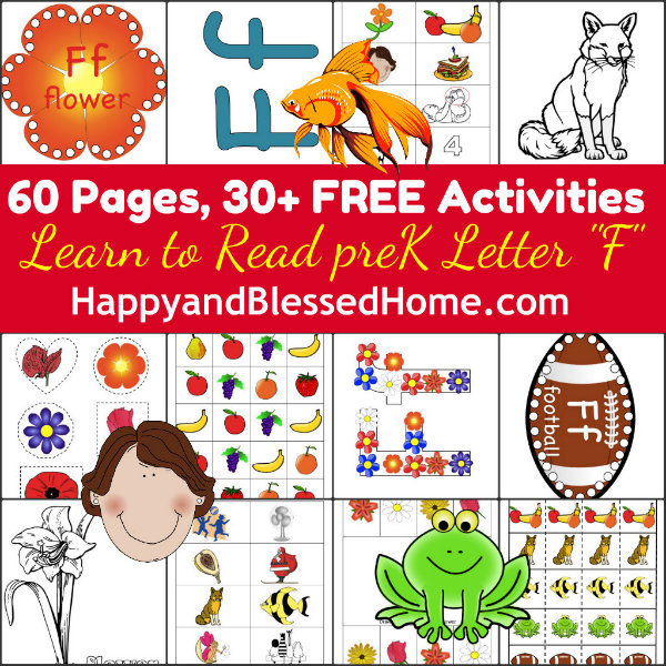 homeschool preschool with 5 FREE Preschool Worksheets for the letter F