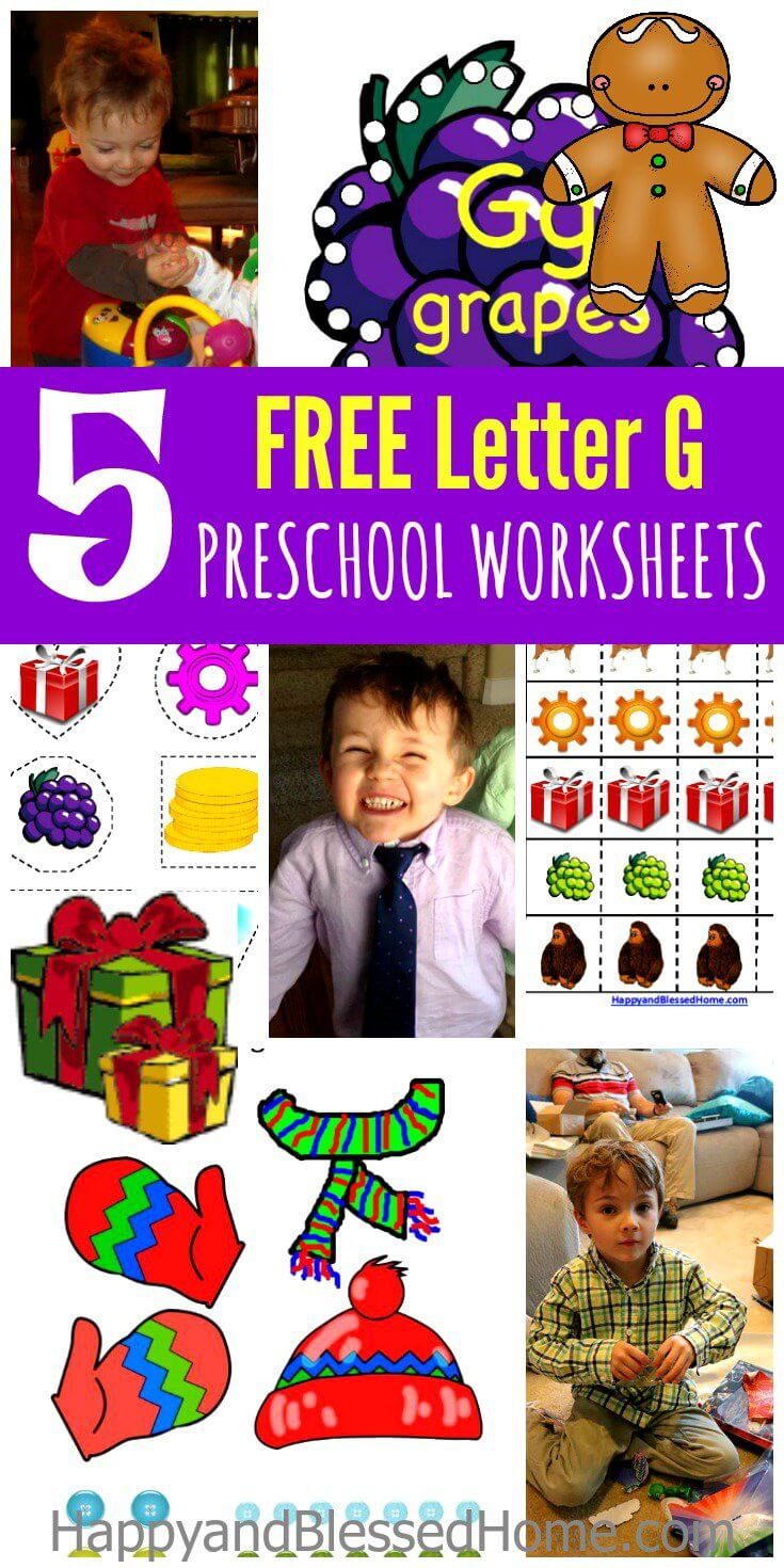 5 FREE Letter G Preschool Worksheets for an easy online preschool curriculum at home