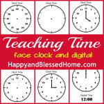 FREE Teaching Children to Tell Time Printables at HappyandBlessedHome.com