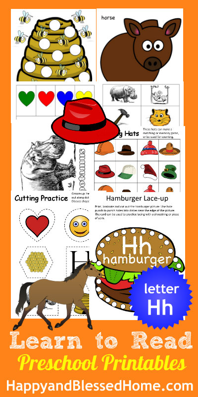 5 FREE Letter H Preschool Worksheets from HappyandBlessedHome.com