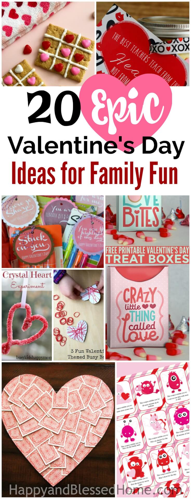 20 Epic Valentine's Day Ideas for Family Fun includes loads of family fun activities - party menus, treat toppers,  scavenger hunt ideas, free printables, easy recipes, and more. There are FREE Valentine's Day Cards Kids can Make, STEM activities with crystals and fizzes, Valentine's Day gift ideas for teachers, busy bag ideas, scripture memory, Raspberry Scones and Cinnamon Rolls, and ideas to help teach kids about love. There's a DIY gift box and sharpie mug, Unicorn Valentine's Day cards, Red Velvet Chocolate Scented play-doh and gift idea, wall art, coupons, and Cheerios Balls.