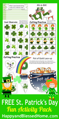 FREE St Patricks Day Printable FUN Pack at HappyandBlessedHome.com