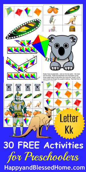 5 FREE Letter K Preschool Worksheets from HappyandBlessedHome.com