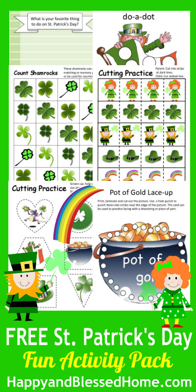 Free St Patricks Day Printables Fun Pack Happy And Blessed