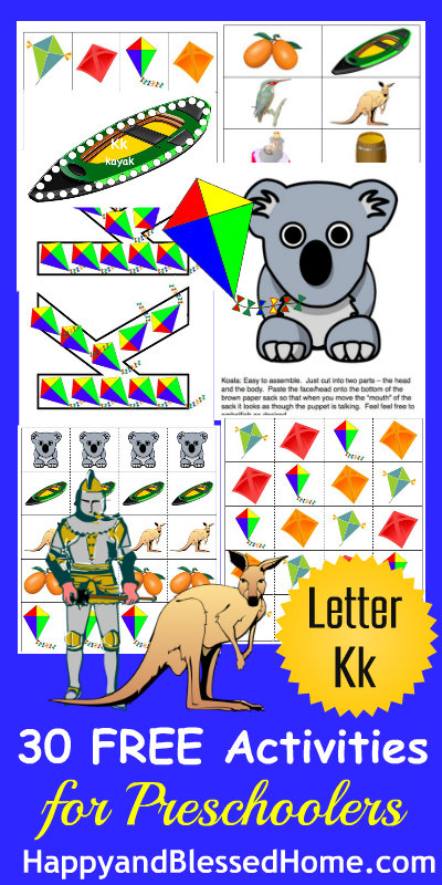 Learn to Read Preschool Alphabet Letter K HappyandBlessedHome.com
