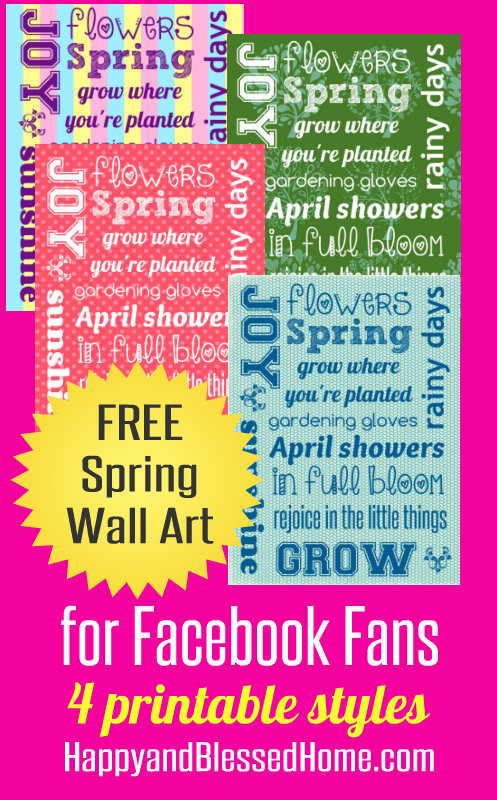 FREE Spring Wall Art HappyandBlessedHome.com