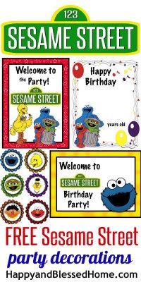 200 FREE Sesame Street Birthday Party Decorations