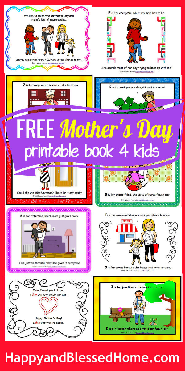 FREE Mothers Day Book for Kids HappyandBlessedHome.com