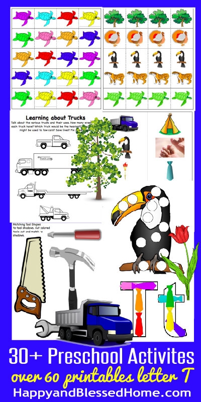 Learn to Read Preschool Alphabet Letter T HappyandBlessedHome.com