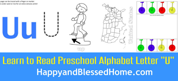 Learn to Read Preschool Alphabet Letter U 1 HappyandBlessedHome.com