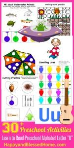 Learn to Read Preschool Alphabet Letter U 4 HappyandBlessedHome.com