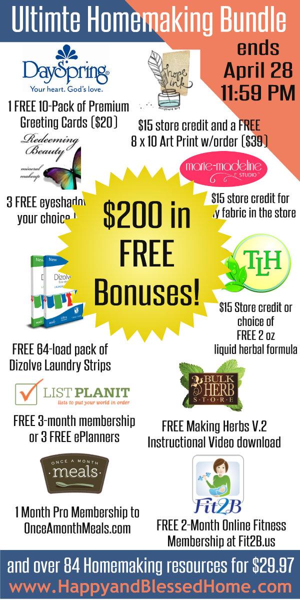 Ultimate Homemaking Bundle Bonuses HappyandBlessedHome.com
