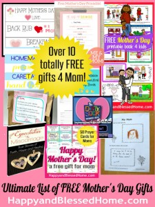Ultimate List of FREE Mothers Day Gifts HappyandBlessedHome.com