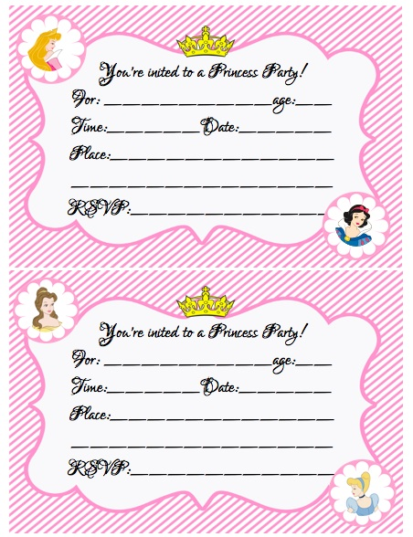 create your own princess birthday party w/free printables, Birthday invitations