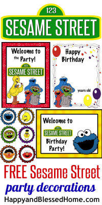FREE Sesame Street Birthday Party Decorations at HappyandBlessedHome.com