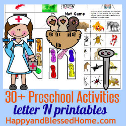 250 Learn to Read Preschool Alphabet Letter N from HappyandBlessedHome