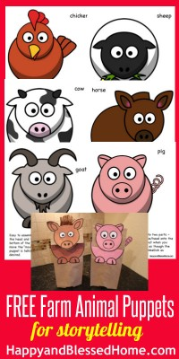 FREE Farm Animal Puppets from HappyandBlessedHome.com