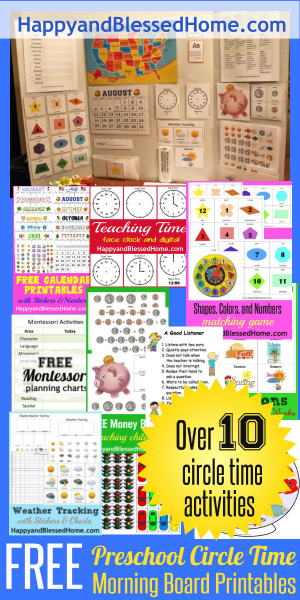Over 10 FREE Preschool Circel Time Morning Board Printables from HappyandBlessedHome.com