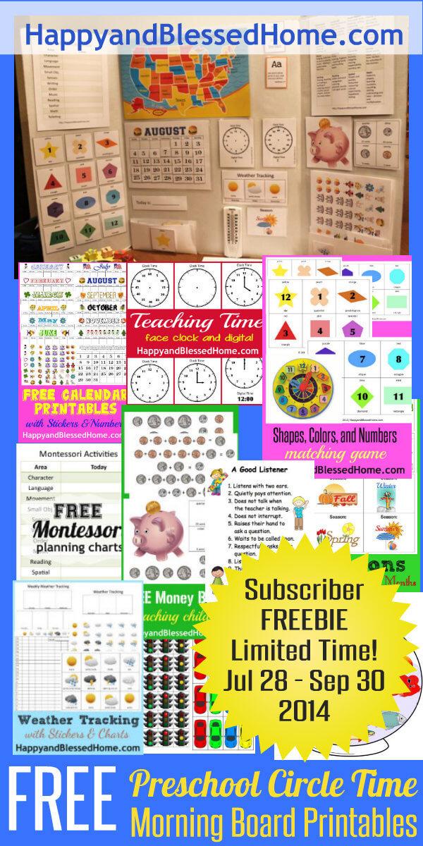 Circle Time Calendar Printables : Free preschool circle time morning board printables