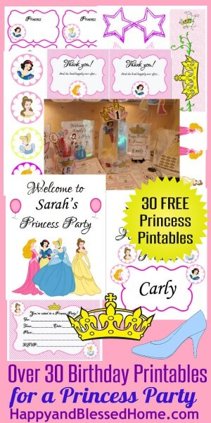 30 FREE Princess Birthday Party HappyandBlessedHome
