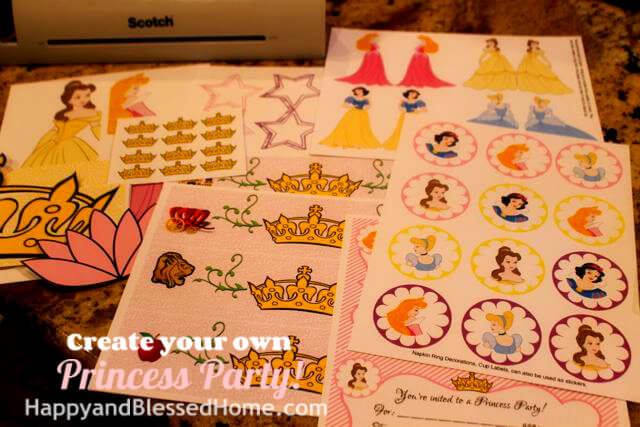Create Your Own Princess Birthday Party FREE printables 2 HappyandBlessedHome.com
