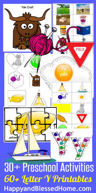 Learn to Read Preschool Alphabet Letter Y Printables HappyandBlessedHome.com