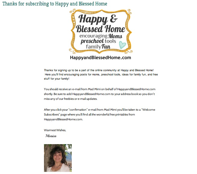 Thanks for Subscribing to HappyandBlessedHome.com