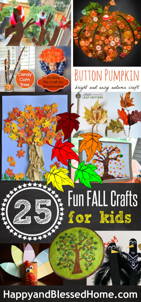 25 Fun Fall Crafts for Kids by HappyandBlessedHome.com