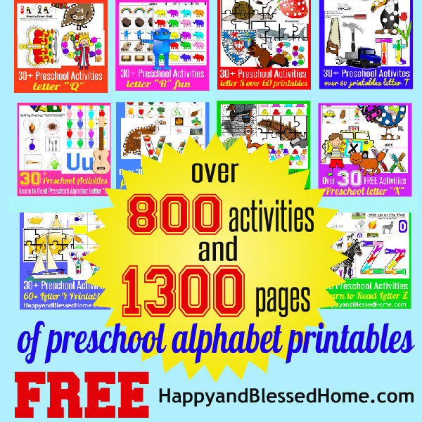 600 Over 1300 Pages of Preschool Alphabet Printables Letters A-Z FREE HappyandBlessedHome.com