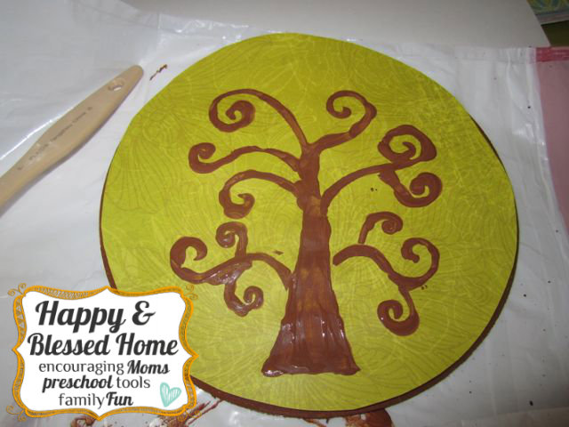 Childrens Fingerprint Keepsake Tree with Fingerprint Leaves Dry HappyandBlessedHome.com