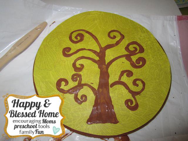 Childrens Fingerprint Keepsake Tree with Fingerprint Leaves Dry HappyandBlessedHome.com