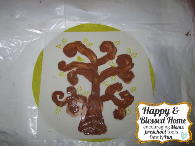 Childrens Fingerprint Keepsake Tree with Fingerprint Leaves Paint Tree HappyandBlessedHome.com