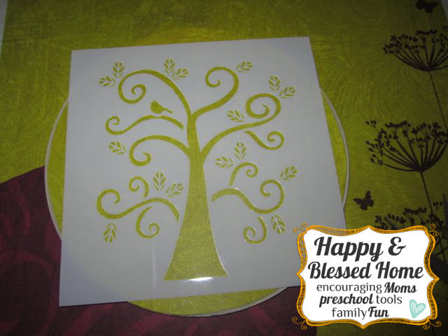 Childrens Fingerprint Keepsake Tree with Fingerprint Leaves Place Stencil HappyandBlessedHome.com
