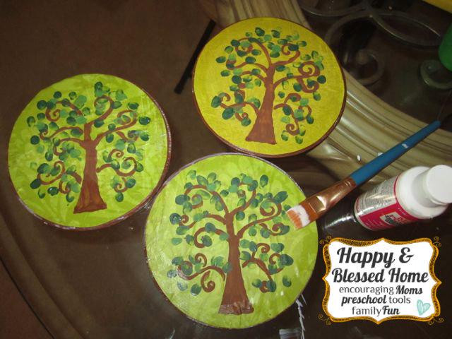 Childrens Fingerprint Keepsake Tree with Fingerprint Leaves Seal HappyandBlessedHome.com