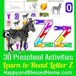 Learn to Read Preschool Alphabet Letter Z